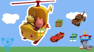 Peppa Pig Toys Cartoon Peppa Pig & Miss Rabbit Helicopter Unboxing Paw Patrol Cars Mcqueen Kids 4K