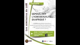 Séminaire « Dépénaliser l'homosexualité en Afrique »