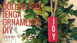 TUTORIAL: Jenga Block Ornaments DIY | Dollar Tree Craft