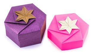 Origami Hexagonal Gift Box Tutorial - 1 Sheet DIY - Paper Kawaii