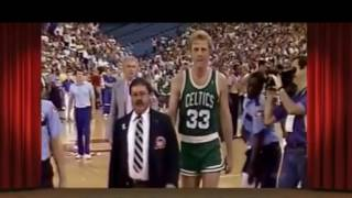 Bill Laimbeer tackles Larry Bird. Robert Parish retaliates two games later