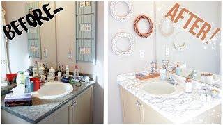 DIY BATHROOM MAKEOVER FOR 30$   Marble + Rose Gold