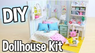 DIY Miniature Dollhouse Kit Bedroom Roombox With Working Lights!  Adabelle's Room