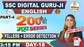 Fillers   Error Detection   200+ MCQs   Part 4   English   SSC Digital Guru Ji   3:15 pm