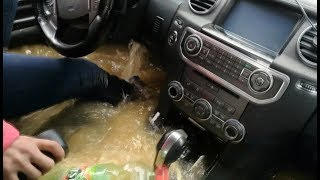 Как утопить Land Rover Discovery 4...Баба за рулём. Lexus LX 470 offroad. Car Sinking in water. Брод