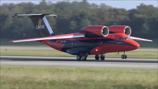 Cavok Air Antonov 74 awesome take-off at Basel EuroAirport - 28/09/2014