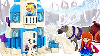 LEGO Duplo Frozen let's make a nice castle with Elsa & Anna! | PinkyPopTOY