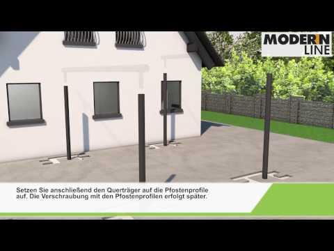 Freistehendes Dach/Carport Modern Line - Montage - FAKU
