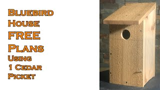 Bluebird House Built with a Single Cedar Fence Picket