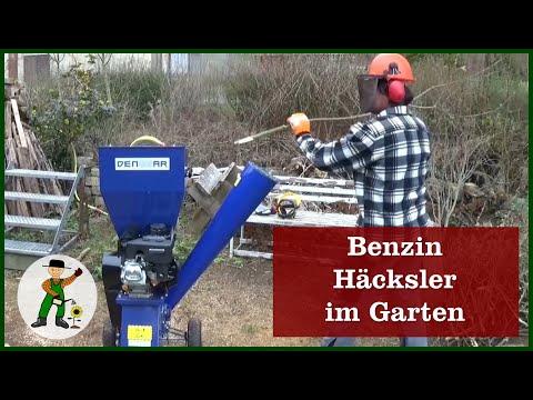 Benzin Häcksler im Garten
