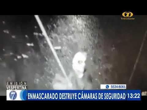 Enmascarado destruye cámaras de seguridad en Suchitepéquez