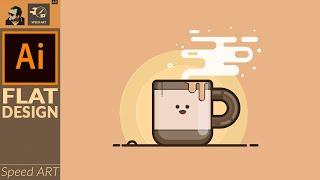 Flat Design Vector Art In Adobe Illustrator 2020 | Cute Coffee Cup | Speed Art