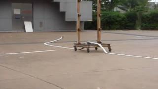 消火ホースの筒先を落としたらどうなるか 実験