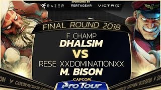 F Champ (Dhalsim) vs. Rese XXDominationXX (M. Bison) - Pools - Final Round 2018 - SFV - CPT 2018