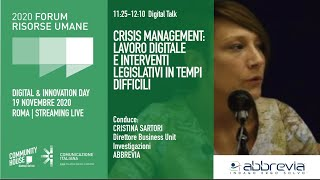 Youtube: Digital Talk | CRISIS MANAGEMENT: LAVORO DIGITALE E INTERVENTI LEGISLATIVI IN TEMPI DIFFICILI