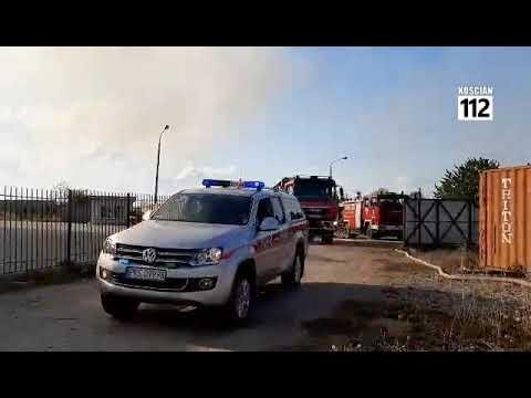 Wideo1: Strażący z powiatów kościańskiego na pożarze wysypiska w Pyszącej