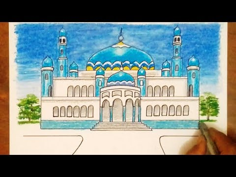 Cara Menggambar Pemandangan Masjid смотреть онлайн на Hahlife