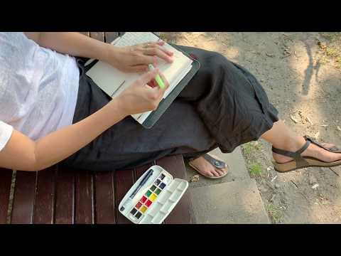 Hộp 14 màu nước Kuretake kèm cọ nước và bút manga 0.3mm