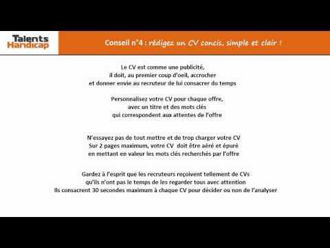 Video Conseil n°4 rédigez un CV concis, simple et clair !