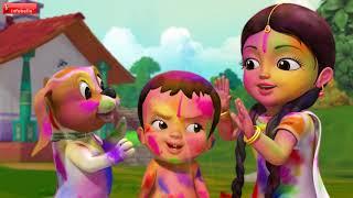 Holi Kids Song | Telugu Rhymes for Children | Infobells