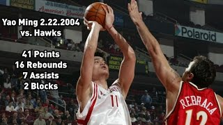 Yao Ming vs Atlanta Hawks: 2.22.2004 Full Highlights - 41 points, 16 rebounds, 7 assists & 2 blocks