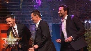"Michael Fassbender, Hugh Jackman & James McAvoy Dance to ""Blurred Lines"" - The Graham Norton Show"