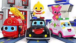 Pinkfong ambulance, police car, fire truck dispatched! Running with Baby Sharks~   PinkyPopTOY