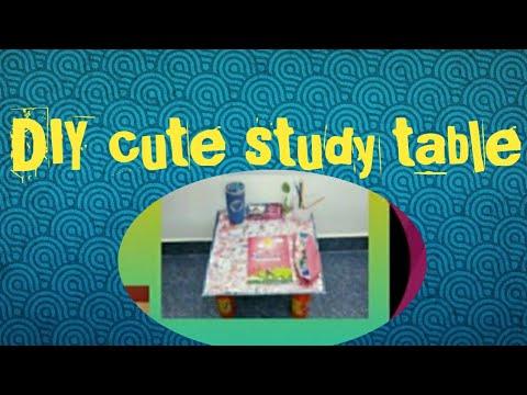 DIY Cute study table/Study table with cardboard/Mini study table