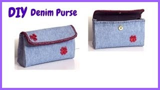 DIY Denim Purse | Jean Purse Recycling From Old Jeans | No Sew Jeans Bag Recycling