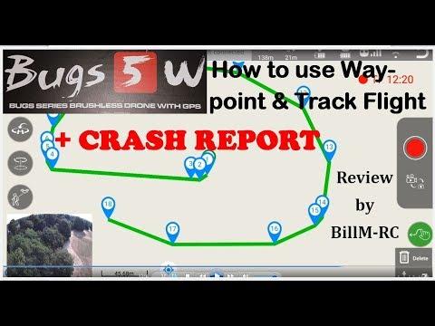 MJX 5W - How to use Waypoint & Track Flight + CRASH Report