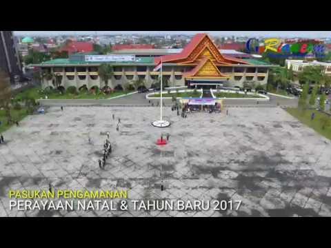 Video Udara: Penampakan Pasukan Gabungan Pengamanan Natal dan Tahun Baru 2017 di Riau