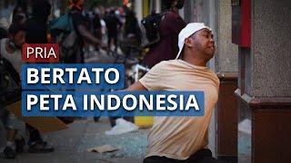 Sosok Pria Bertato Peta Indonesia yang Ikut Demo George Floyd