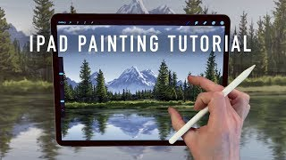 IPAD PAINTING TUTORIAL - Mountain and tree landscape art in Procreate