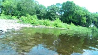 preview picture of video 'Delaware river Feeder Creek Milford, PA Kayak travel cam'