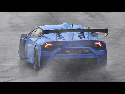 Race Cars testing on wet: Traction Control Noise, Slides & Pure Sounds!