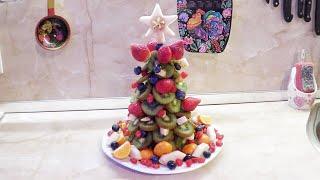 Новогодний рецепт / Ёлка из фруктов / Украшение из фруктов / Делаем с детками