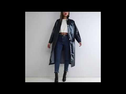 trenchcoat blau vinyl