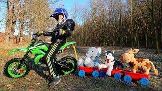 Kid pretend play Learn Jungle Animals with Cross Bike Watermelon Train playground for children