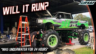 JH Diesel Flipped His MegaTruck Into Cleetus' Pond...Now We See If It Runs! (6.0 Powerstroke)