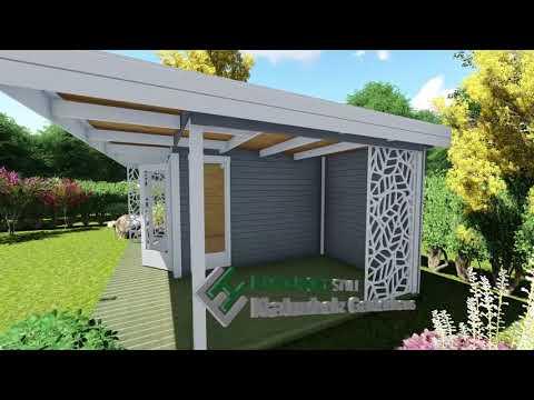 Gartenhaus mit Flachdach - Holz Haus mit Terrasse - 28 mm - Halle 28224 Model