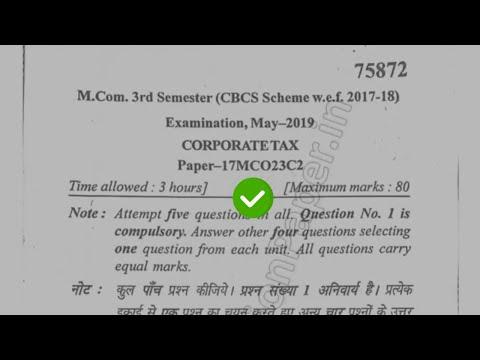 [2019] Mdu MCom 3rd Sem Corporate Tax Question Paper #MduQuestionPaper