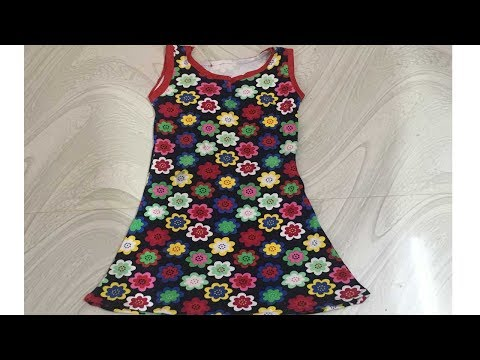 KIDS COMFORTABLE AND SIMPLE SUMMER A-LINE FROCK CUTTING AND STITCHING