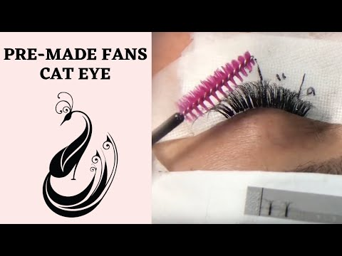 Eyelash Extensions Tutorial 6D (Pre-Made Fans) Lashes Cat Eye Look