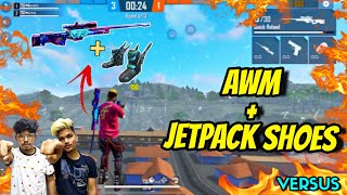 FREE FIRE || ONLY AWM + JETPACK SHOES IN CLASH SQUAD CHALLENGE || CRAZY MODE LIVE REACTION||. TSG