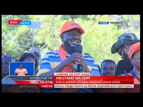 ODM leader Raila Odinga addresses the crowd at Tononoka Grounds in Mombasa