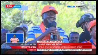 ODM leader Raila Odinga addresses the crowd at Tononoka Grounds in Mombasa