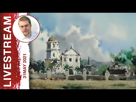 Monday Livestream 3: Dynamic Watercolor Sketching of a Church (Watercolor Landscape Tutorial)