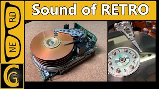 Jet Engine in Retro Computer. Old Big MFM Hard Disk Spin Up Compilation & Benchmark Results