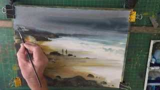 Watercolour Beach Painting Stormy Sky