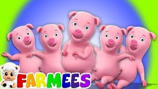 năm ít heo con | nhảy trên giường | ươm vần cho trẻ em | Five Little Piggies | Piggies Rhymes